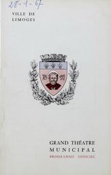 Programme de Salle : Orphée et Eurydice. 1966/1967, Opéra Théâtre de Limoges |