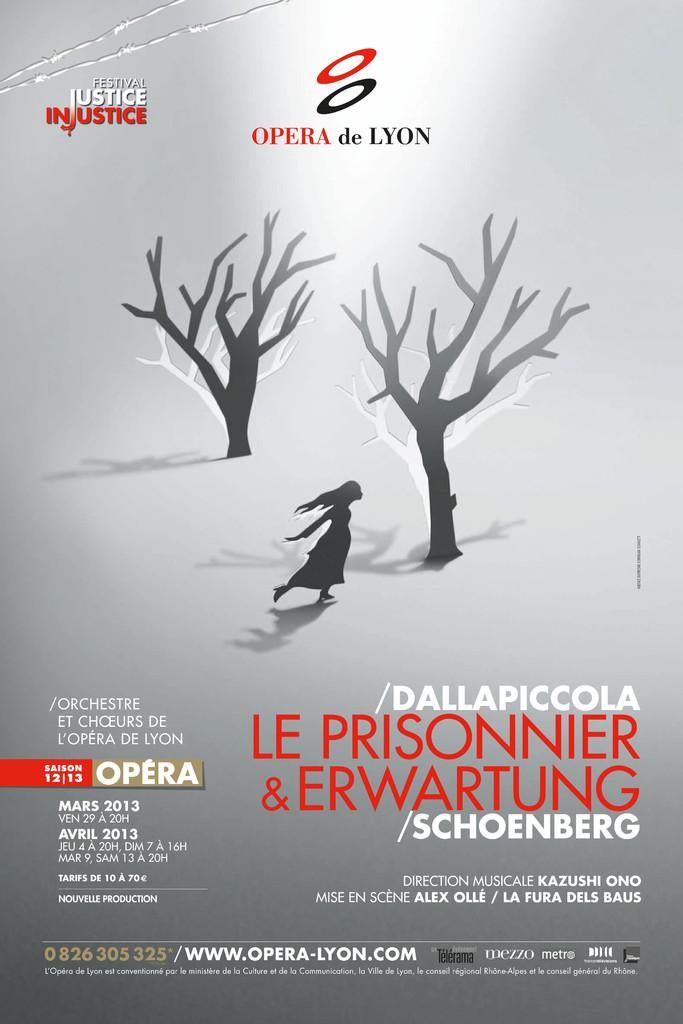 Affiche : Erwartung : Prisonnier (Le). 2012/2013, Opéra national de Lyon |