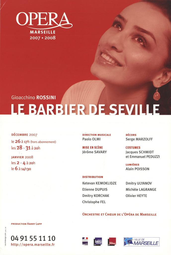Affiche : Barbier de Séville (Le). 2007/2008, Opéra de Marseille  