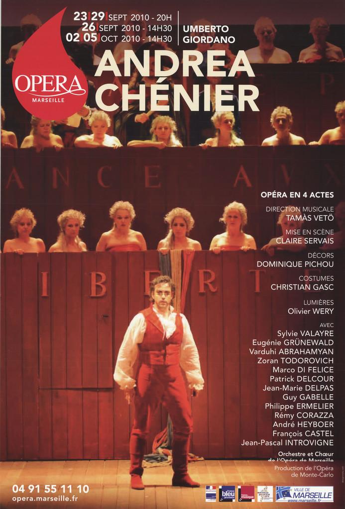 Affiche : Andrea Chenier. 2010/2011, Opéra de Marseille  