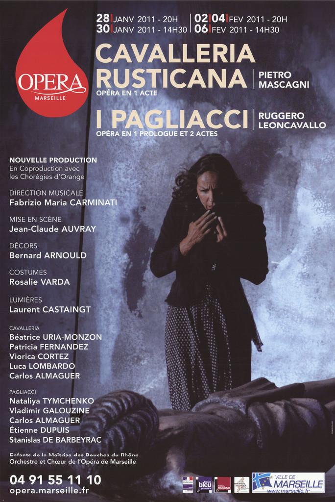Affiche : Cavalleria rusticana. 2010/2011, Opéra de Marseille  