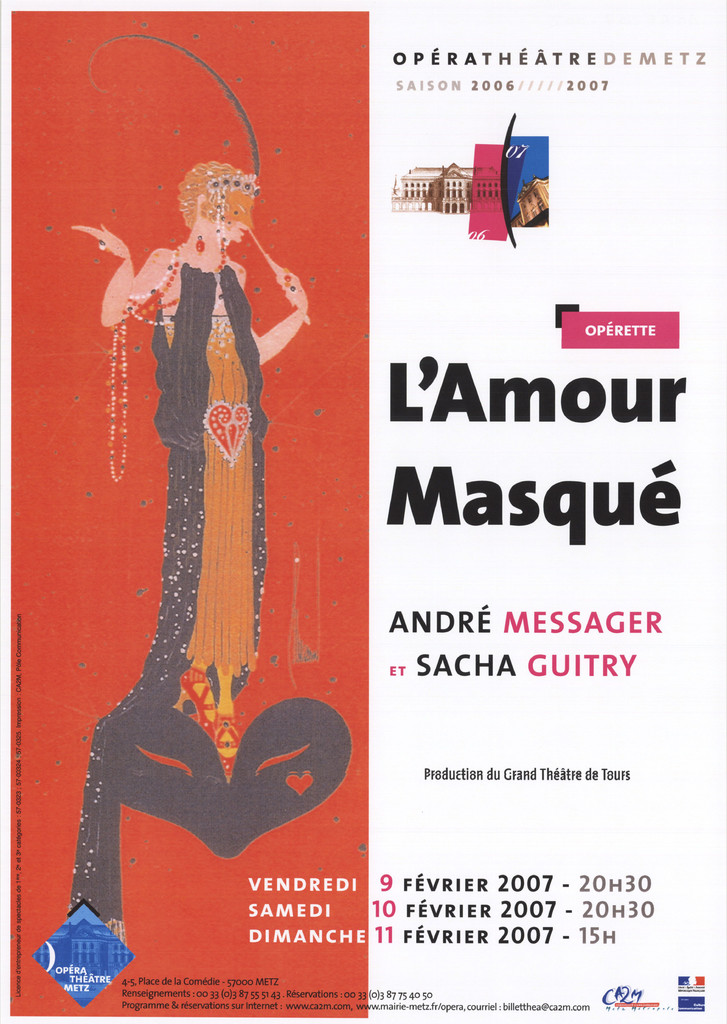 Affiche : Amour masqué (L'). 2006/2007, Opéra-Théâtre de Metz Métropole  