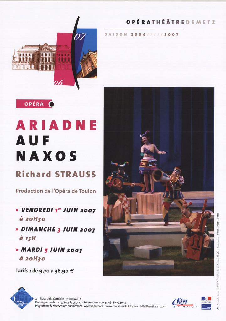 Affiche : Ariadne auf Naxos. 2006/2007, Opéra-Théâtre de Metz Métropole |