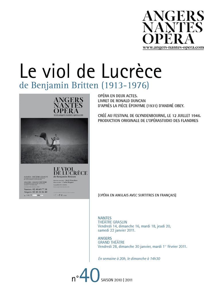 Programme de Salle : Viol de Lucrèce (Le). 2010/2011, Angers Nantes Opéra |