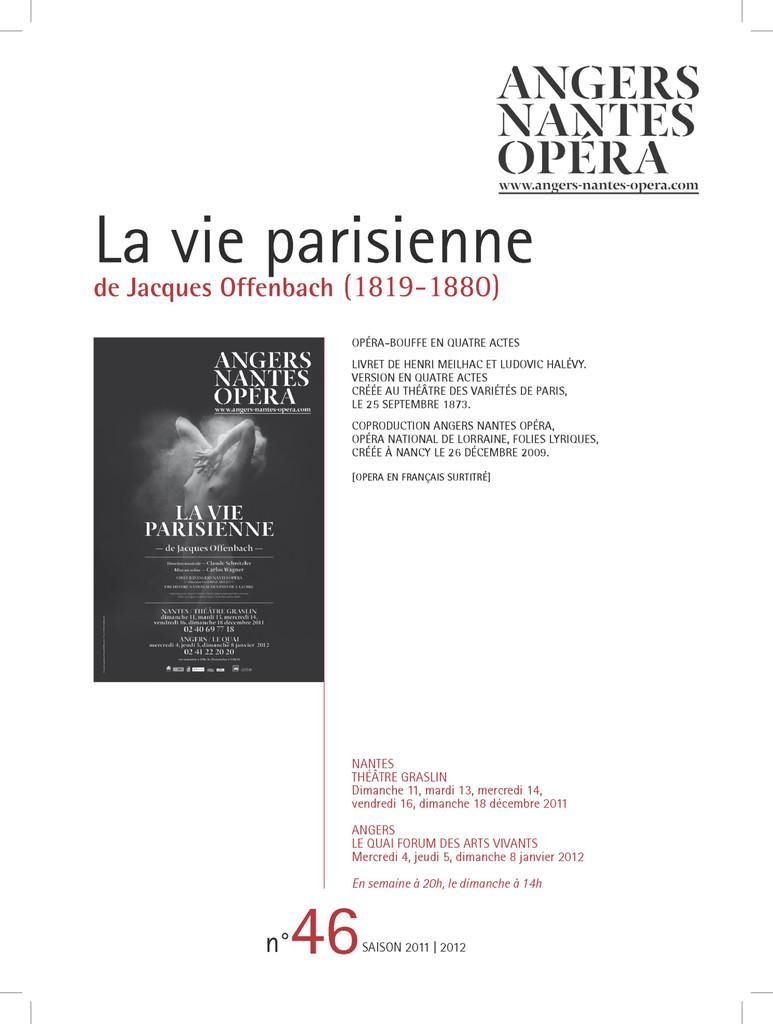 Programme de Salle : Vie parisienne (La). 2011/2012, Angers Nantes Opéra |