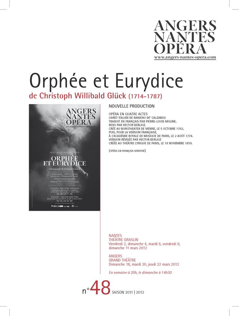 Programme de Salle : Orphée et Eurydice. 2011/2012, Angers Nantes Opéra  