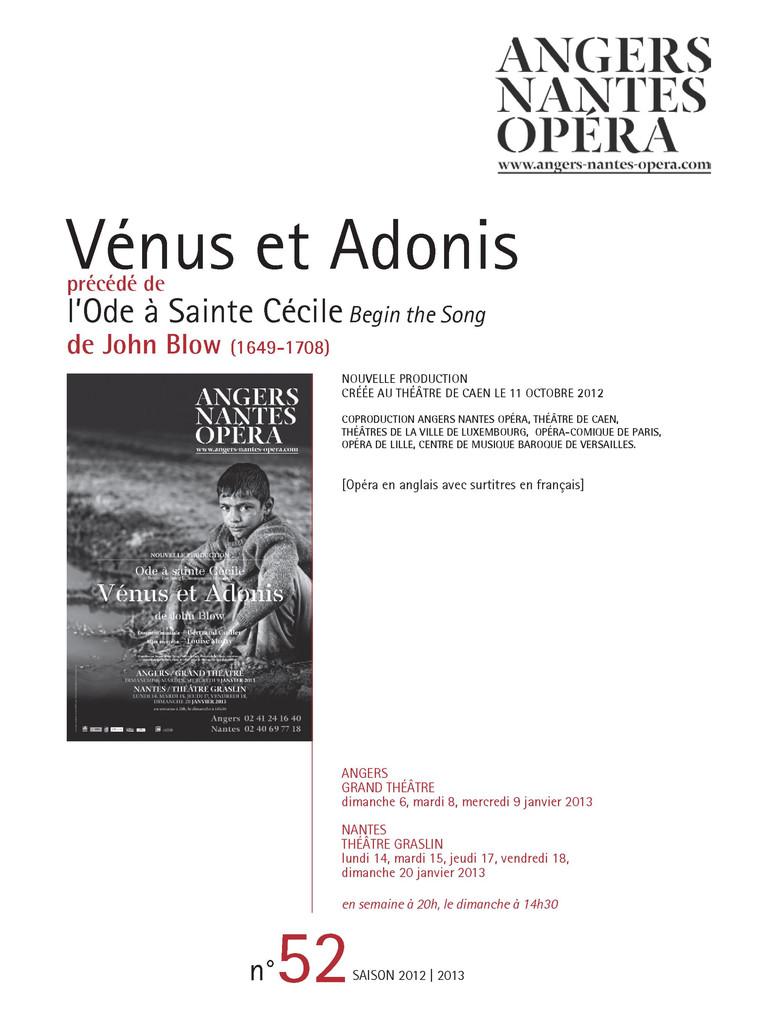 Programme de Salle : Vénus et Adonis. 2012/2013, Angers Nantes Opéra |
