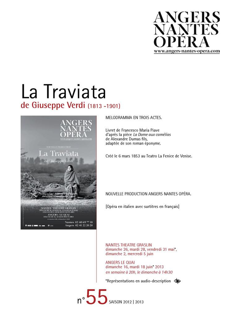 Programme de Salle : Traviata (La). 2012/2013, Angers Nantes Opéra |