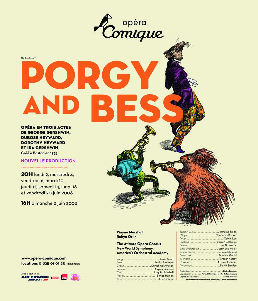 Affiche : Porgy and Bess. 2007/2008, Théâtre national de l'Opéra-comique  