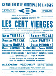 Affiche : Cent vierges (Les). 1964/1965, Opéra Théâtre de Limoges |