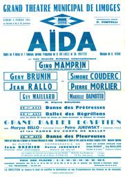 Affiche : Aida. 1964/1965, Opéra Théâtre de Limoges |