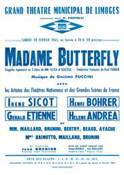 Affiche : Madame Butterfly. 1964/1965, Opéra Théâtre de Limoges |