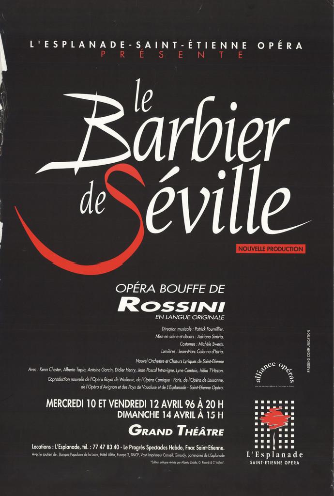 Affiche : Barbier de Séville (Le). 1996/1997, Opéra Théâtre de Saint-Étienne  