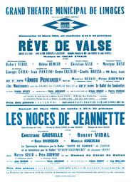 Affiche : Noces de Jeannette (Les). 1964/1965, Opéra Théâtre de Limoges |