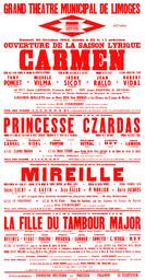 Affiche : Fille du tambour major (La). 1964/1965, Opéra Théâtre de Limoges |