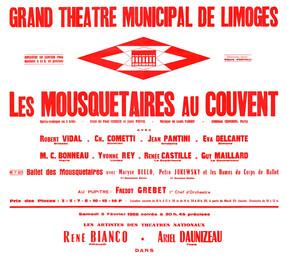 Affiche : Mousquetaires au couvent (Les). 1965/1966, Opéra Théâtre de Limoges |