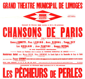 Affiche : Chansons de Paris. 1965/1966, Opéra Théâtre de Limoges |