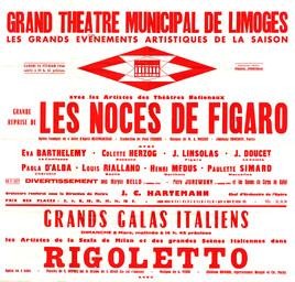 Affiche : Noces de Figaro (Les). 1965/1966, Opéra Théâtre de Limoges |