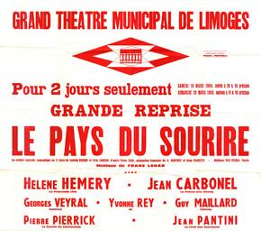 Affiche : Pays du sourire (Le). 1965/1966, Opéra Théâtre de Limoges |