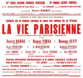 Affiche : Vie parisienne (La). 1965/1966, Opéra Théâtre de Limoges |
