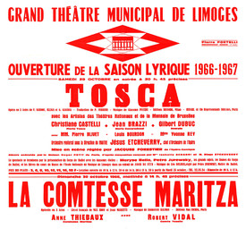 Affiche : Tosca. 1965/1966, Opéra Théâtre de Limoges |