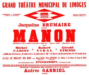 Affiche : Manon. 1966/1967, Opéra Théâtre de Limoges |
