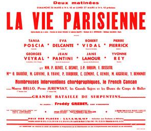 Affiche : Vie parisienne (La). 1966/1967, Opéra Théâtre de Limoges |