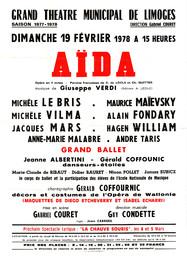 Affiche : Aida. 1977/1978, Opéra Théâtre de Limoges |