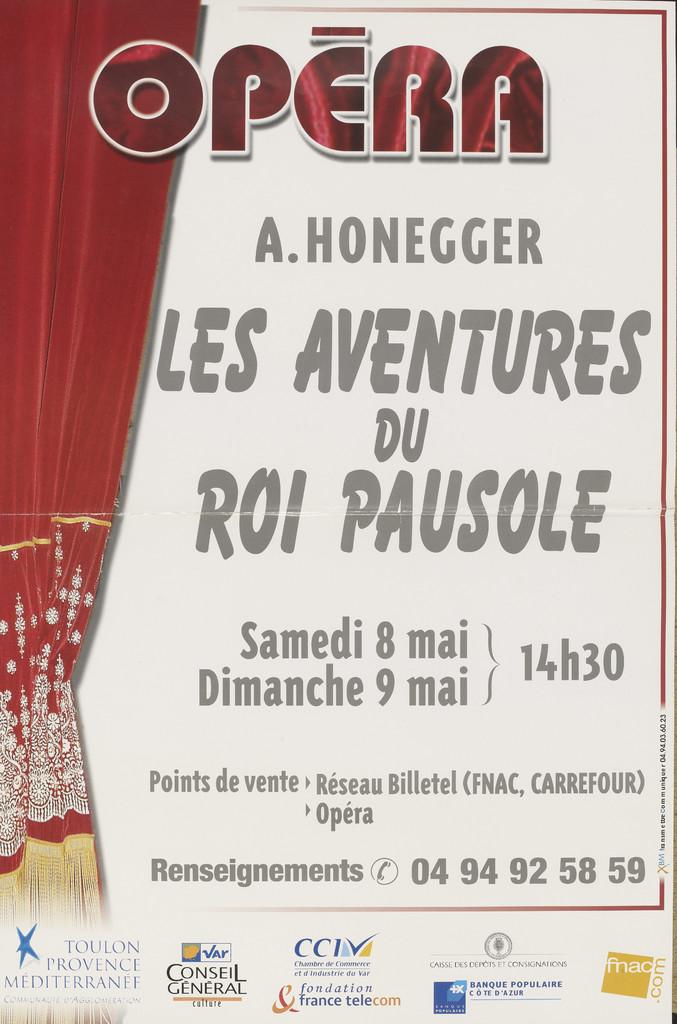 Affiche : Aventures du roi Pausole (Les). 2003/2004, Opéra de Toulon Provence Méditerranée |