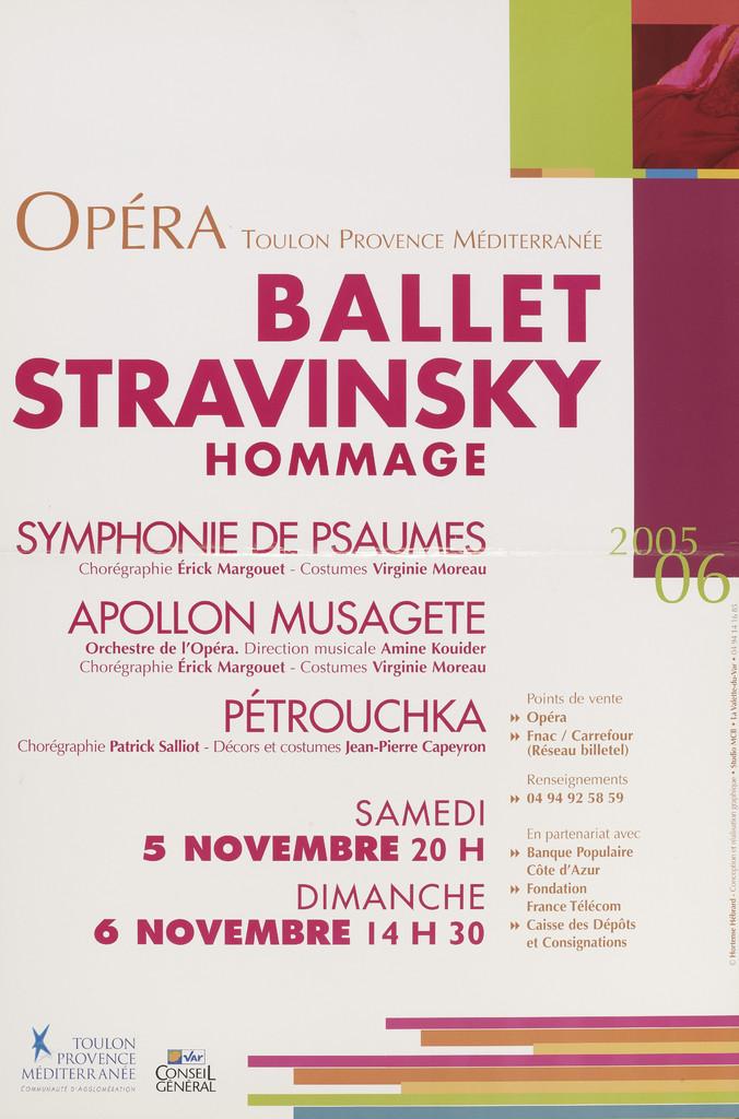 Affiche : Apollon musagète. 2005/2006, Opéra de Toulon Provence Méditerranée |
