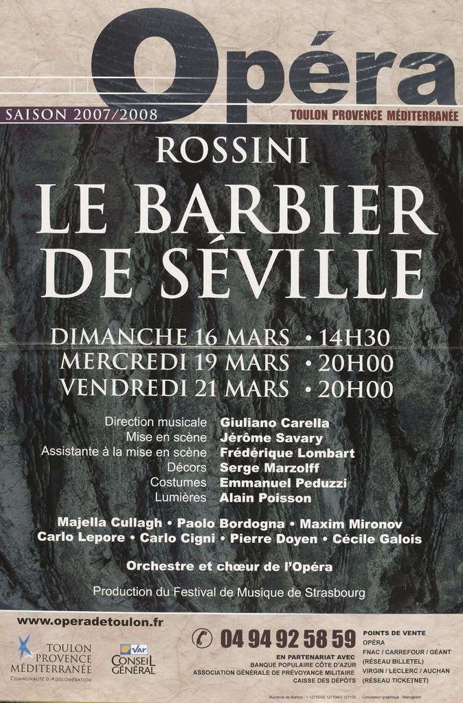 Affiche : Barbier de Séville (Le). 2007/2008, Opéra de Toulon Provence Méditerranée |