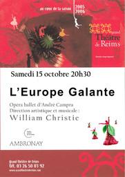 Programme de Salle : Europe Galante (L'). 2005/2006 |