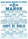 Affiche : Manon. 1964/1965, Opéra Théâtre de Limoges |
