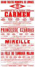Affiche : Princesse Czardas. 1964/1965, Opéra Théâtre de Limoges |