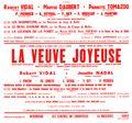 Affiche : Veuve joyeuse (La). 1965/1966, Opéra Théâtre de Limoges |